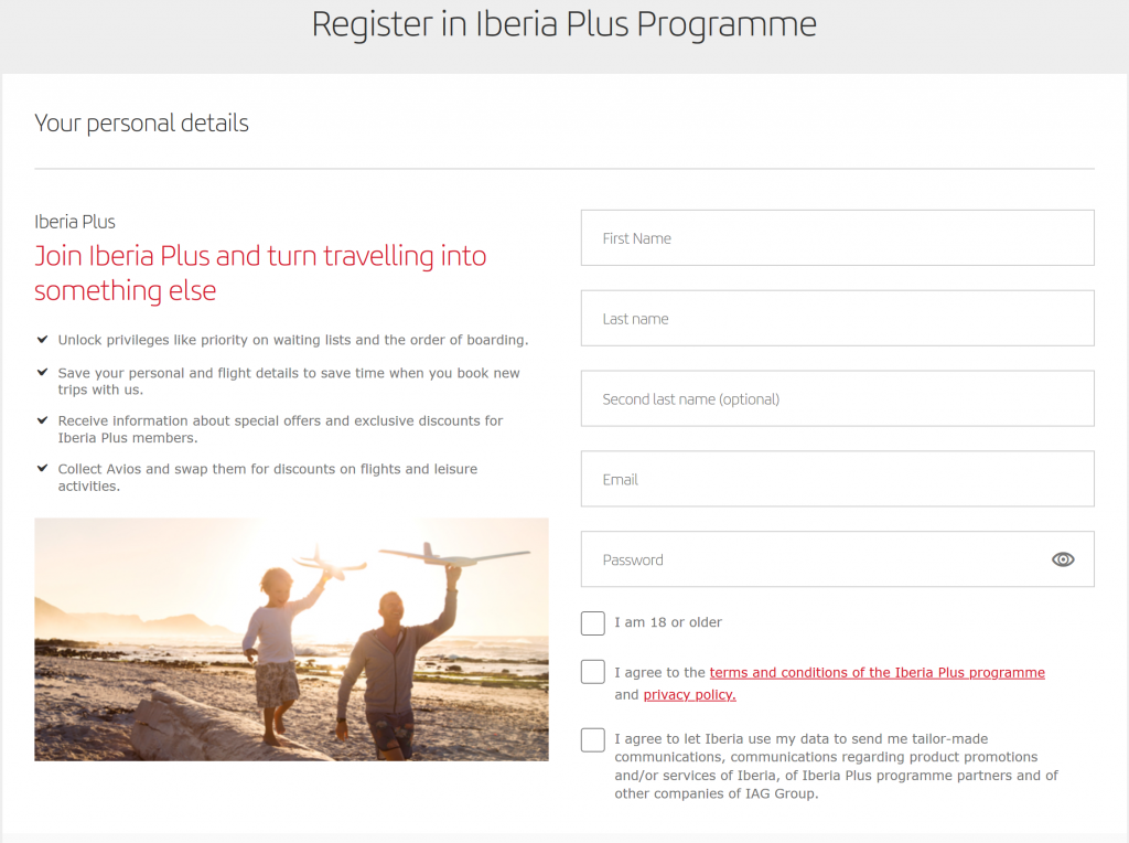 Register for an Iberia Plus account