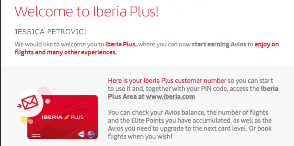 Iberia Plus Account Registration Email Confirmation