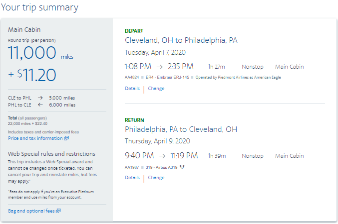 American Airlines AAdvantage Web Saver Special