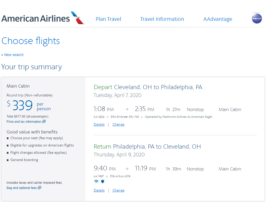 Round-trip Main Cabin fares Cleveland to Philadelphia