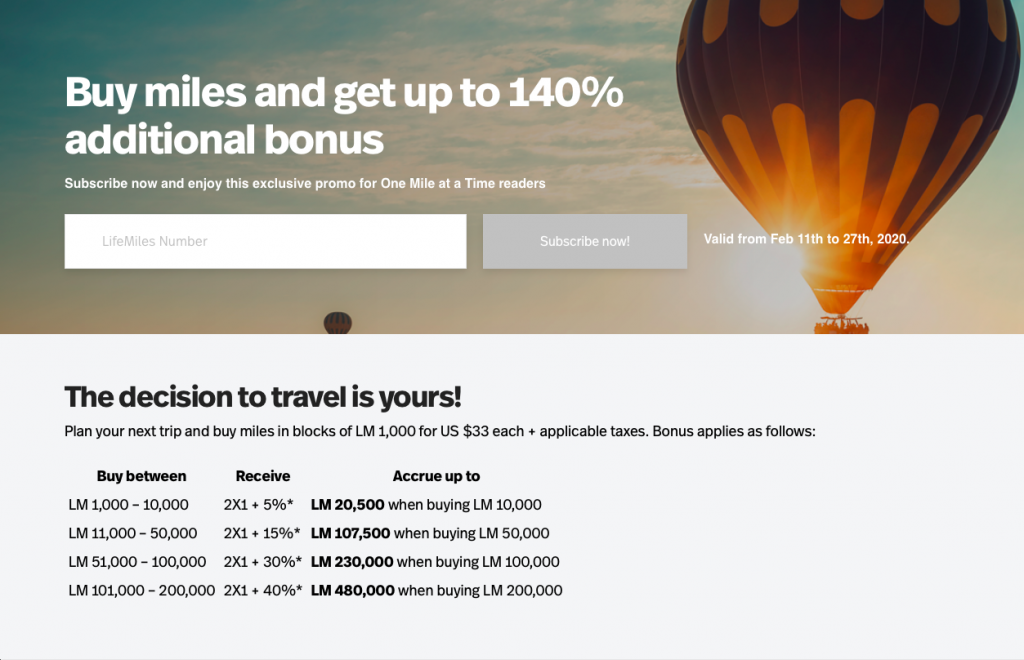 Buy Avianca LifeMiles with up to 140% bonus