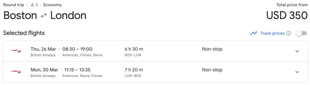 Boston to London on British Airways for $350 Round Trip