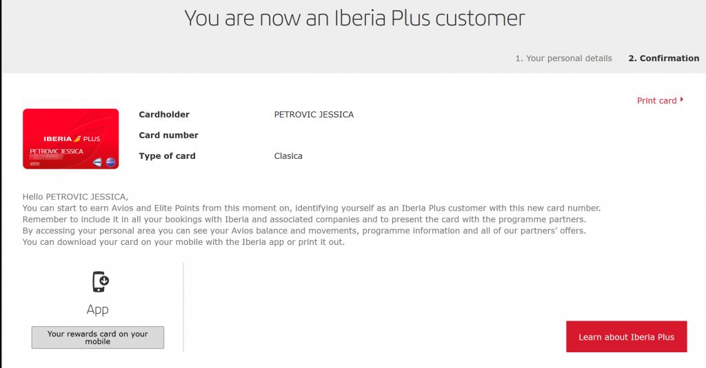 Iberia Plus Account Successful Registration