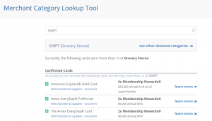 Screenshot showing AwardWallet's Merchant Category Lookup Tool for grocery delivery service Shipt.