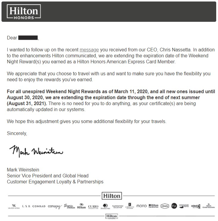 Letter from Hilton notifying member that Weekend Night Reward certificate expiration dates are being extended.