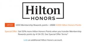 Screenshot of American Express Membership Rewards page showing 50% transfer bonus to Hilton Honors.
