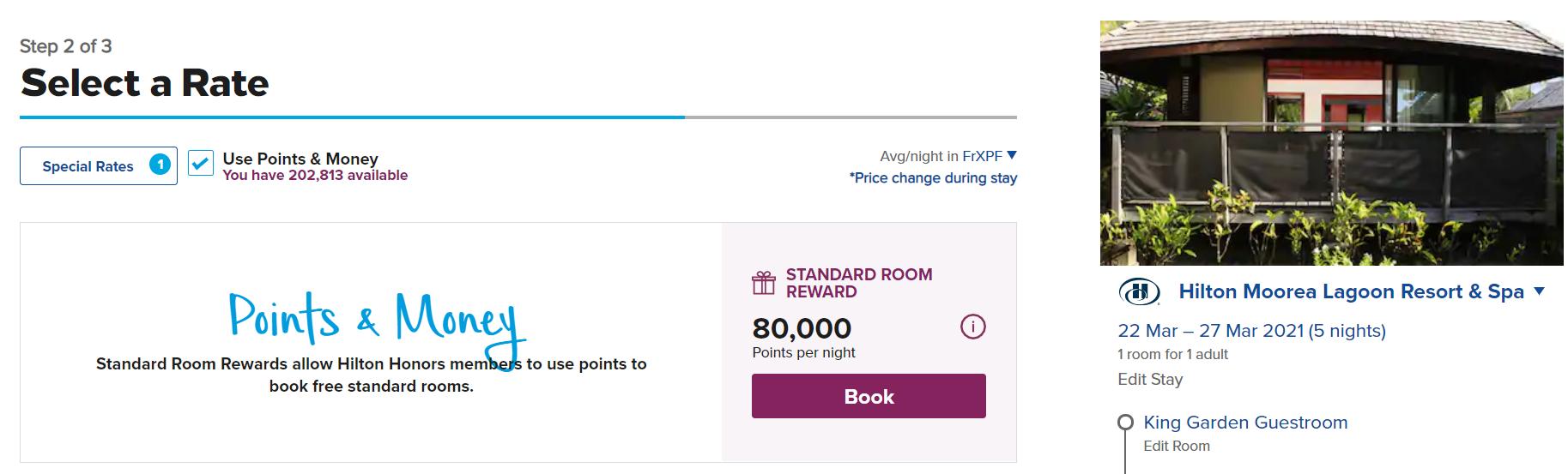 Screenshot of Hilton award booking page showing standard room reward of 80,000 points per night.