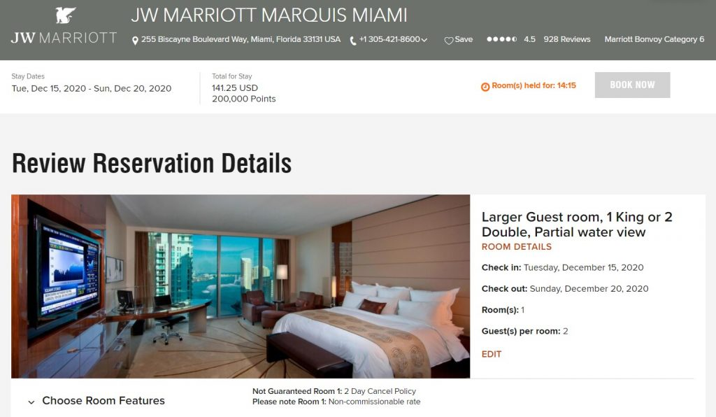 Screenshot showing the price of a five-night award stay at the JW Marriott Marquis Miami costs 200,000 points plus $141.25 in fees for a stay in mid-December.