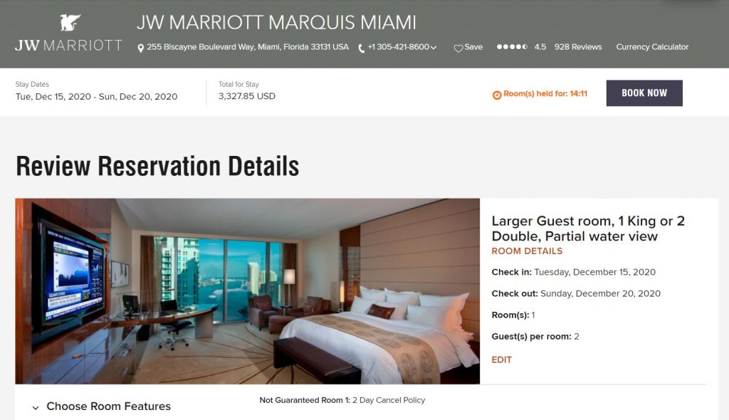 Screenshot showing the price of a five-night paid stay at the JW Marriott Marquis Miami costs $3,327.85 in mid-December.