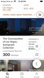 Screenshot of Marriott app for The Cosmopolitan in Las Vegas showing $300 rate