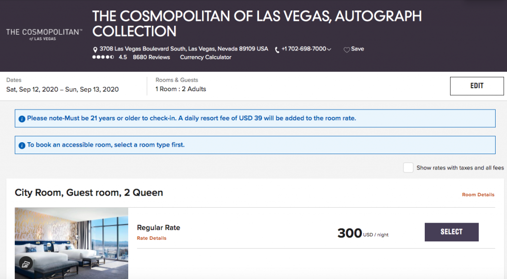 Screenshot of Marriott booking page for The Cosmopolitan in Las Vegas showing $300 rate