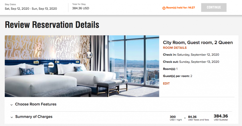 Screenshot of Marriott booking page for The Cosmopolitan in Las Vegas showing $384 all-in price.