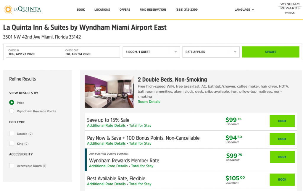 Screenshot shows that the price of a hotel stay is the same whether booked through the 15% sale or through the Wyndham Rewards member rate.