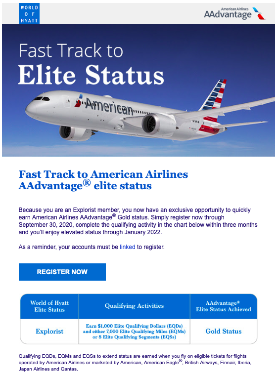 Email to Hyatt Explorist listing the requirements to fast-track to AA Gold status