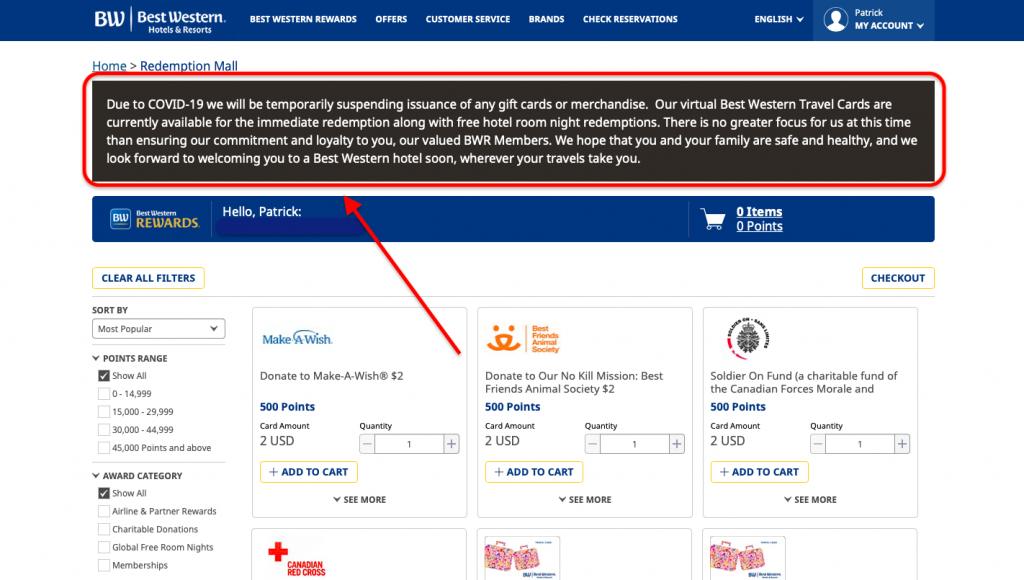 Screenshot showing Best Western redemption mall with a notice at the top about the suspension of gift cards and merchandise.