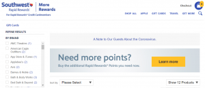 Screenshot of Southwest Rapid Rewards More Rewards with a banner referencing Southwest credit cardmembers.