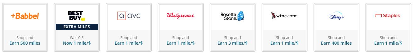 MileagePlus shopping portal partners