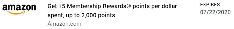 Screenshot of Amex Offer for +5 Membership Rewards points per dollar spent, up to 2,000 extra points.