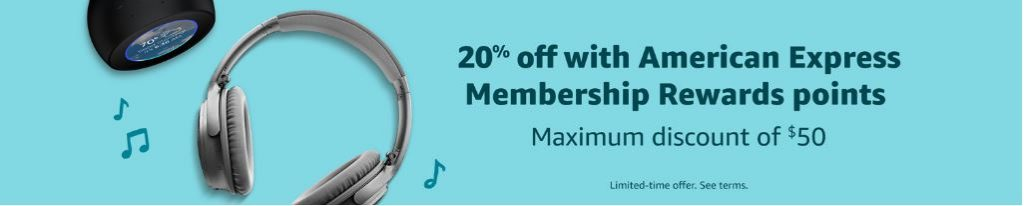 Screenshot of Amazon banner showing 20% off with American Express Membership Rewards points.
