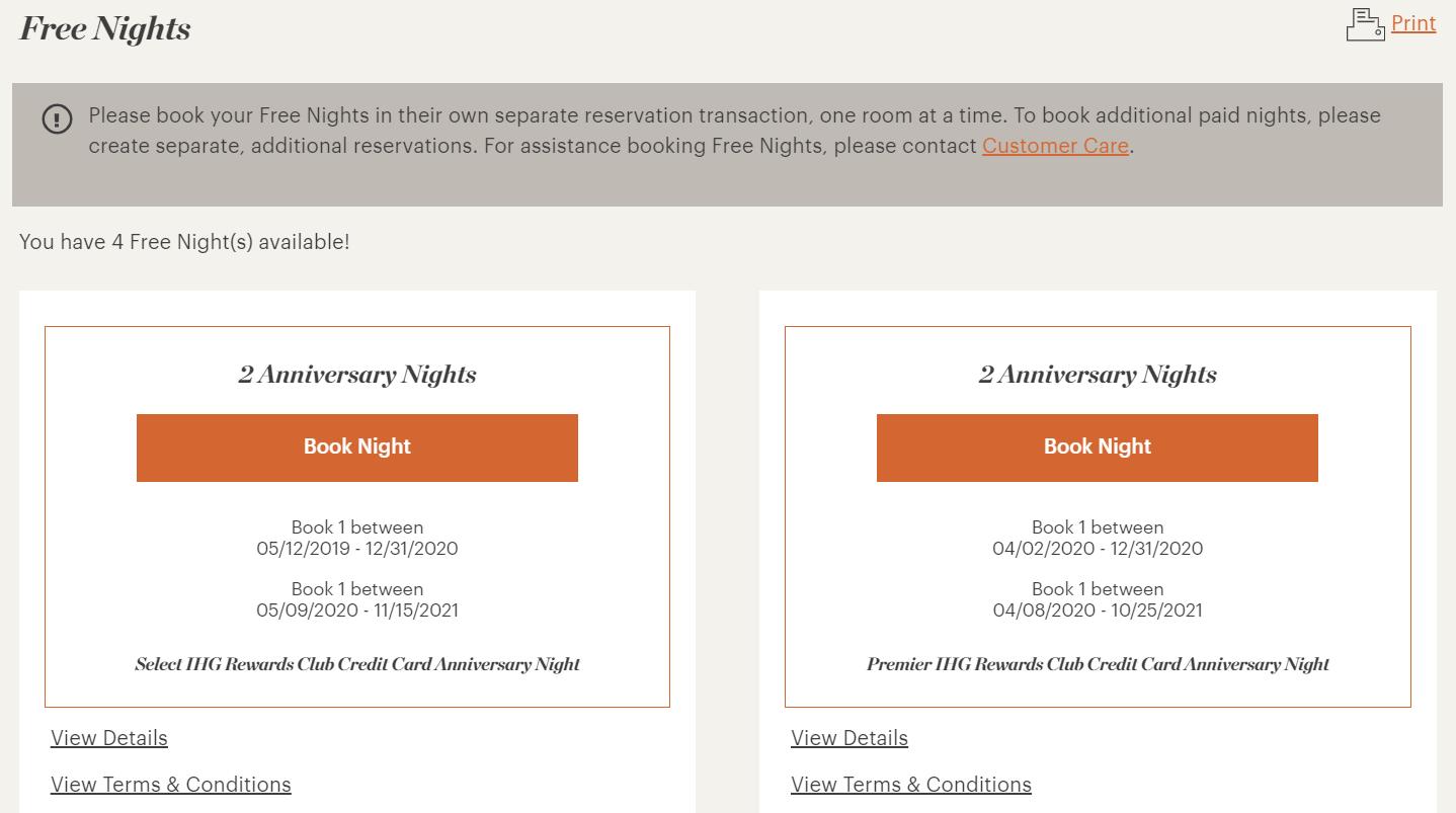 IHG free night certificates in my IHG account