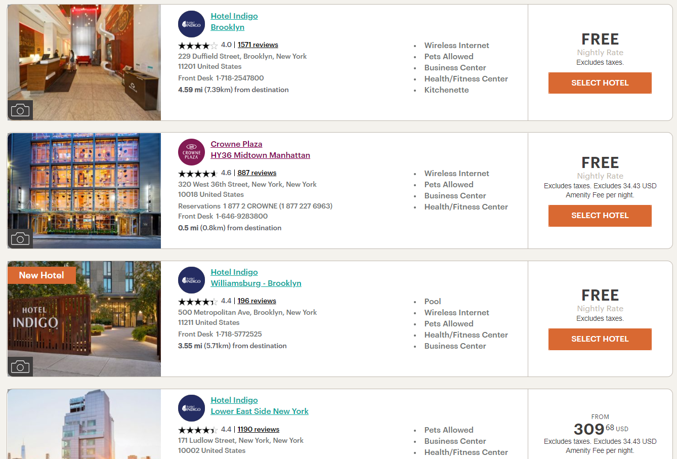 Search results for IHG free night certificates in NYC