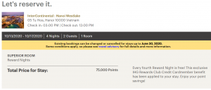 Screenshot showing a 75,000-point redemption at the InterContinental Hanoi Westlake after fourth-night free