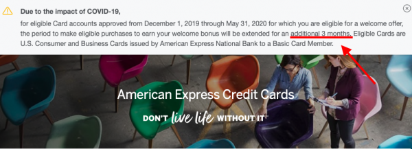 Screenshot of Amex's website showing a banner that cardmembers an additional 3 months to earn your welcome bonus
