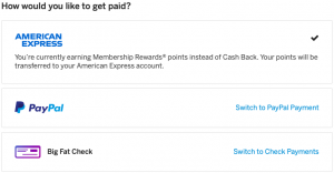 Screenshot of the payout screen for Rakuten showing the option to get Membership Rewards, PayPal or a Big Fat Check