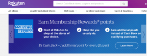 Screenshot of Rakuten website showing the option to earn Membership Rewards points