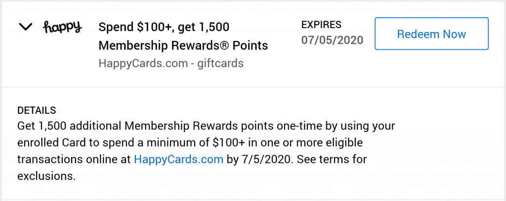 1,500 Bonus points for $100 GC purchase