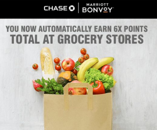 "Screenshot from a Chase email saying ""you now automatically earn 6X points total at grocery stores"""