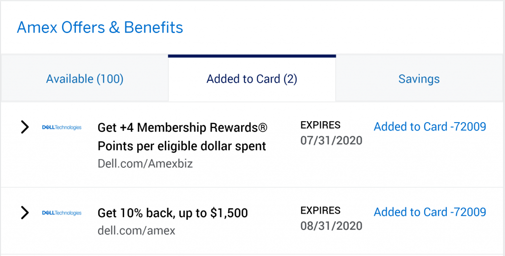 Dell Offers on Amex Business Platinum