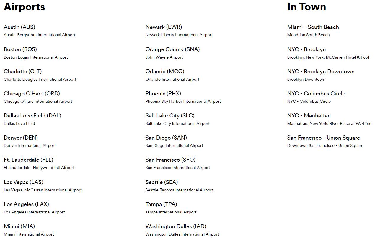 Silvercar Premium Rewards Locations