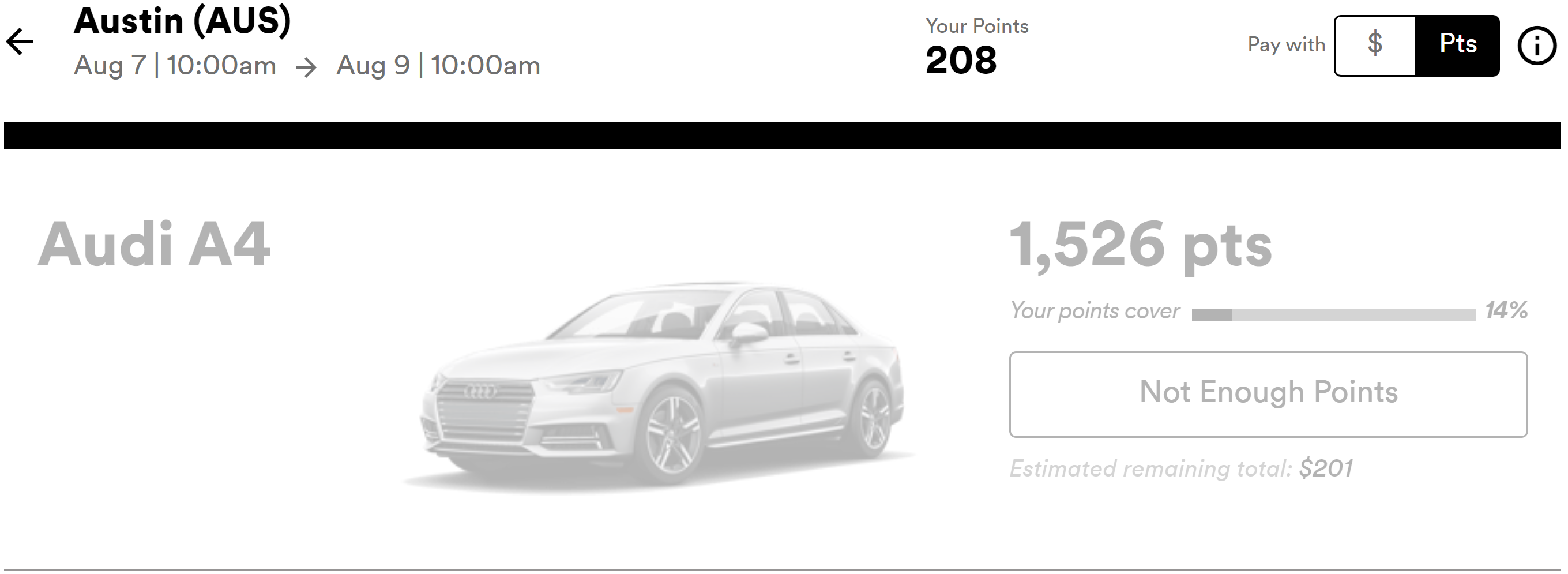 Silvercar points rate