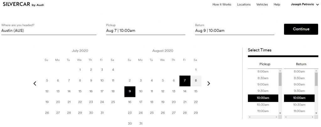 Silvercar booking calendar