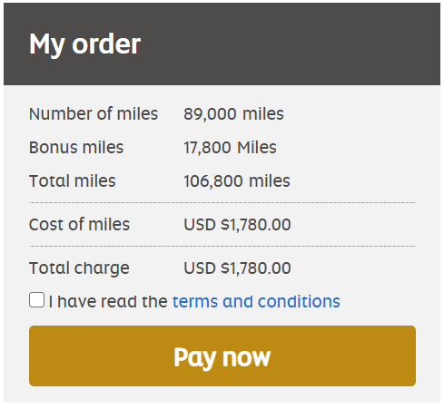 Buy 106,800 Etihad miles for $1780 after 20% bonus