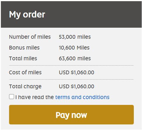 Buy 63,600 Etihad miles for $1060 after 20% bonus