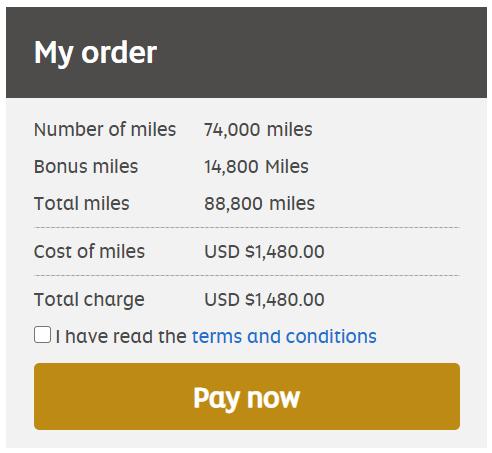 Buy 88,800 Etihad miles for $1480 after 20% bonus