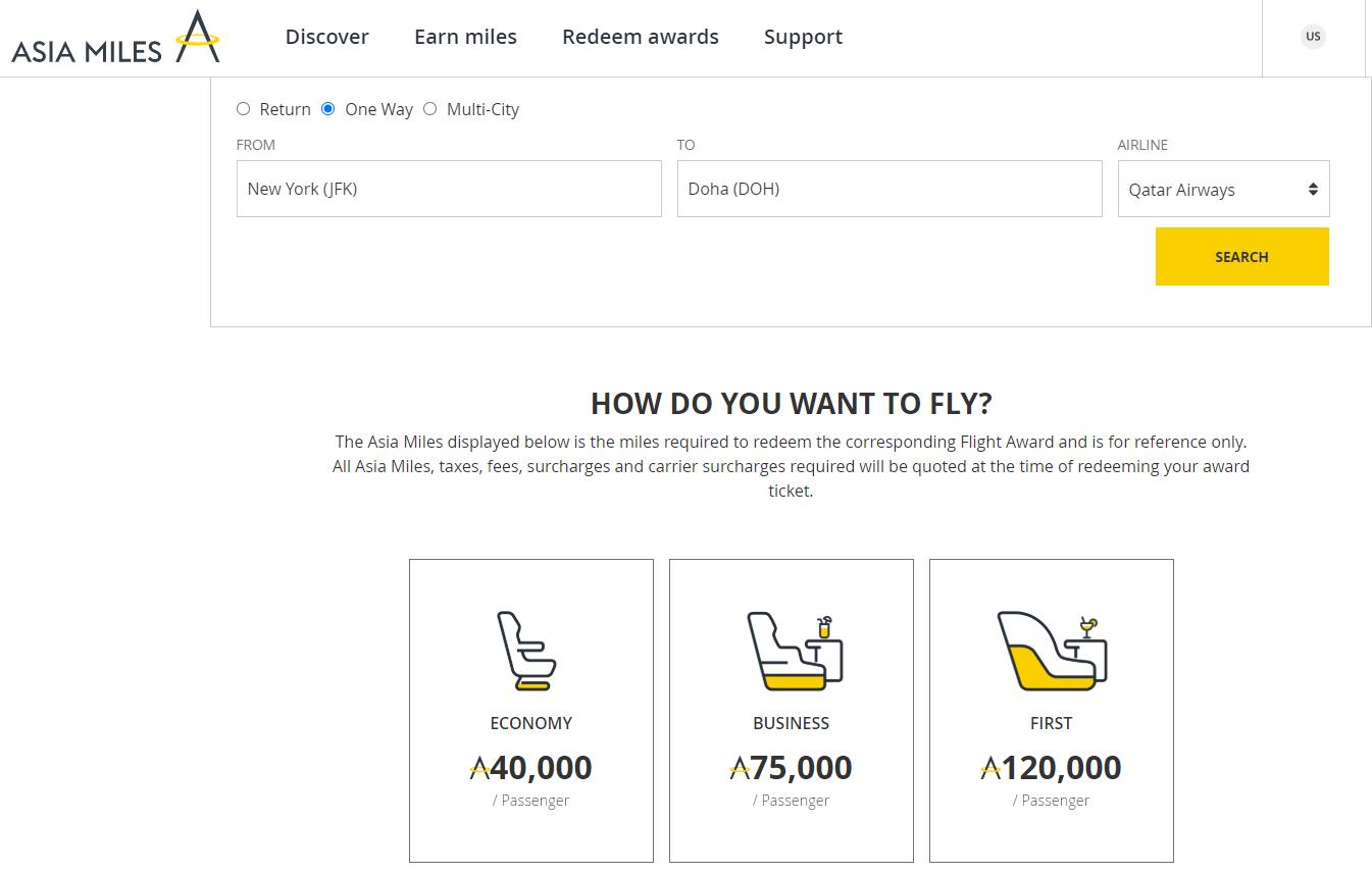 Asia Miles is cheaper than Qatar Privilege Club