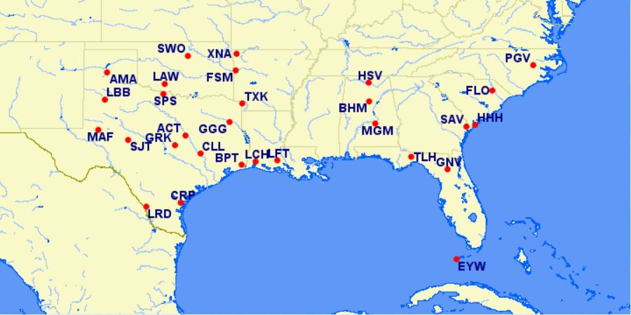 aa reduced mileage awards - southeastern US - July