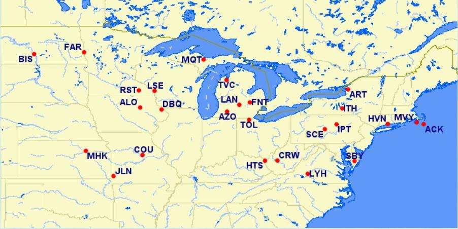 reduced mileage awards - northeastern U.S.