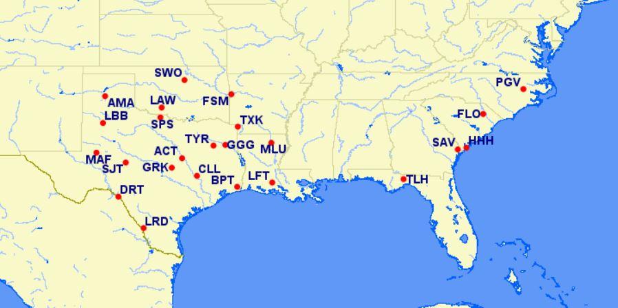 aa reduced mileage awards - southeastern U.S.