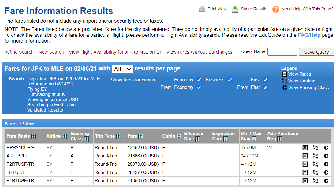 american airlines award booking must be on a published route