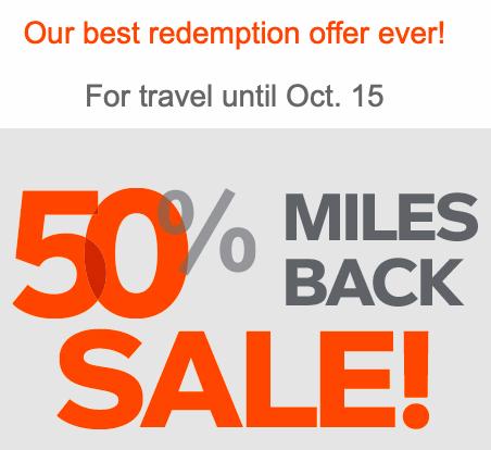 Aeroplan banner 50% miles back sale