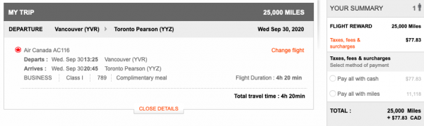 Aeroplan itinerary pricing at 25,000 miles from Vancouver to Toronto Pearson