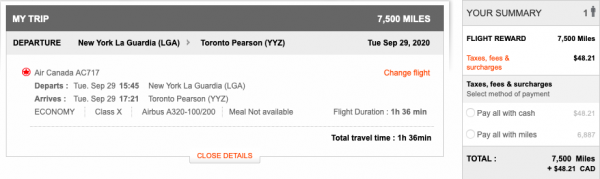 Aeroplan itinerary pricing at 7,500 miles from New York LaGuardia to Toronto Pearson