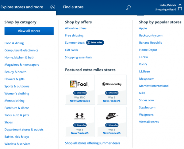 aadvantage shopping by category