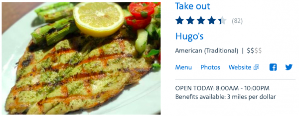 Hugo's is part of the American Airlines dining program