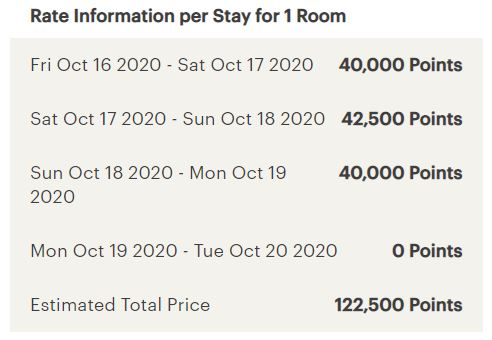 IHG rewards hotels may have different prices each night