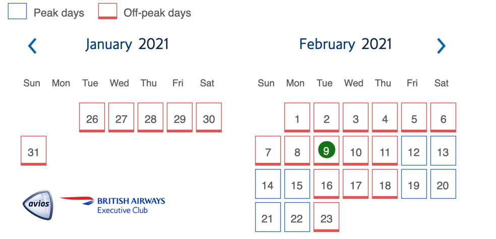 Peak and Off-peak dates for free plane tickets